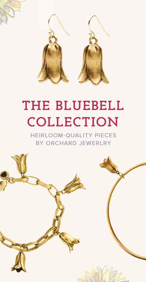 Shop the bluebell flower jewelry collection by Orchard Jewelry. Pieces include elicate statement necklaces, floral drop earrings, gold bangles and classic gold link bracelets.
