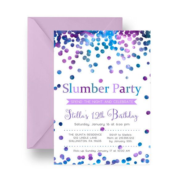 confetti slumber party invitation girls sleepover birthday modern
