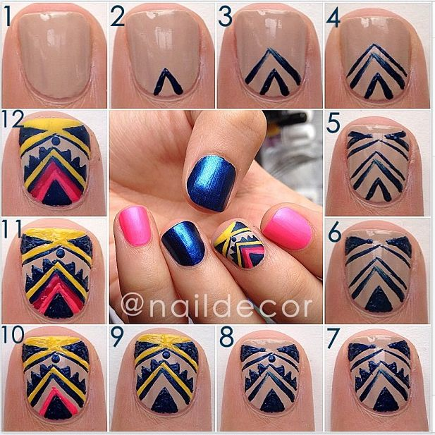 Cute Tribal Print Nails- This might be a bit easier to do