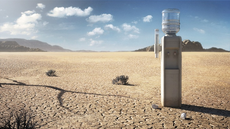This is a full CGI landscape with a water-dispenser