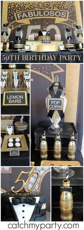 Loving this fabulous gold and black 50th birthday party! See more party ideas at Catchmyparty.com!