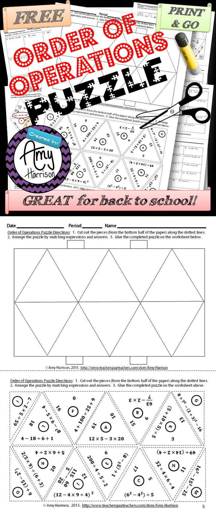 Try this FREE order of operations puzzle that is great for back to school in grades 5-8.