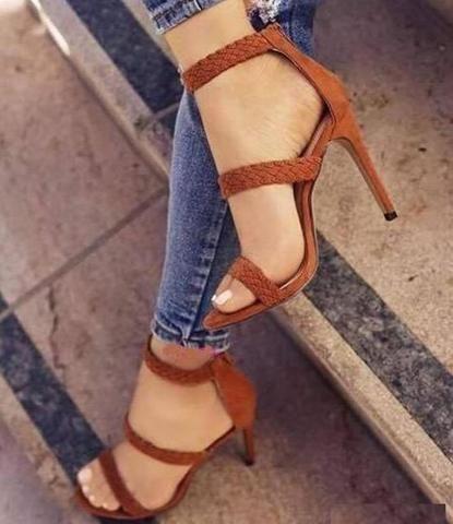 Weben Reißverschluss Mode Frauen Sandalen High Heels Schuhe