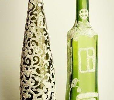Декор бутылки манной крупой