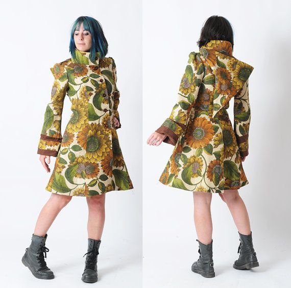 Sunflower print coat, Womens floral coat with hood, Vintage burlap, Womens clothing, Fall fashion, Green and orange hooded coat, MALAM