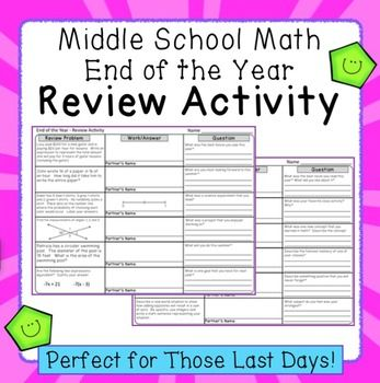 end of the year activity for middle school math 7th grade common core math math math. Black Bedroom Furniture Sets. Home Design Ideas