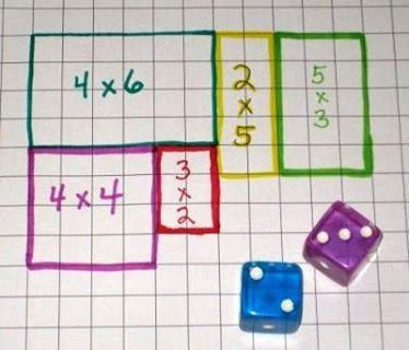 Great math game for teaching multiplication with arrays on graph paper.