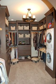 I love this; laundry in the walk in closet. Wouldn't be white, but I love the pocess efficiency.