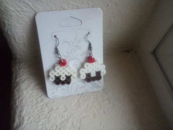 Perler Bead 8 Bit Cupcake Earrings Pixel Art by SplattyCake Crafts