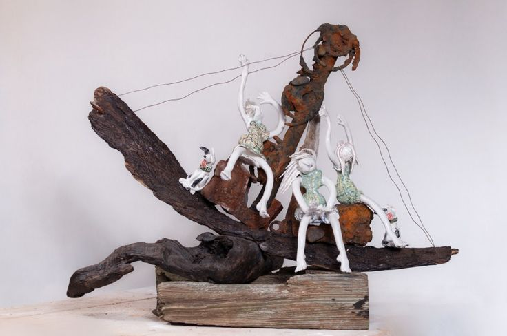 Maralyn Reed-Wood East Coast Girls- All at sea. Ceramics & found objects | Scottish Contemporary Art