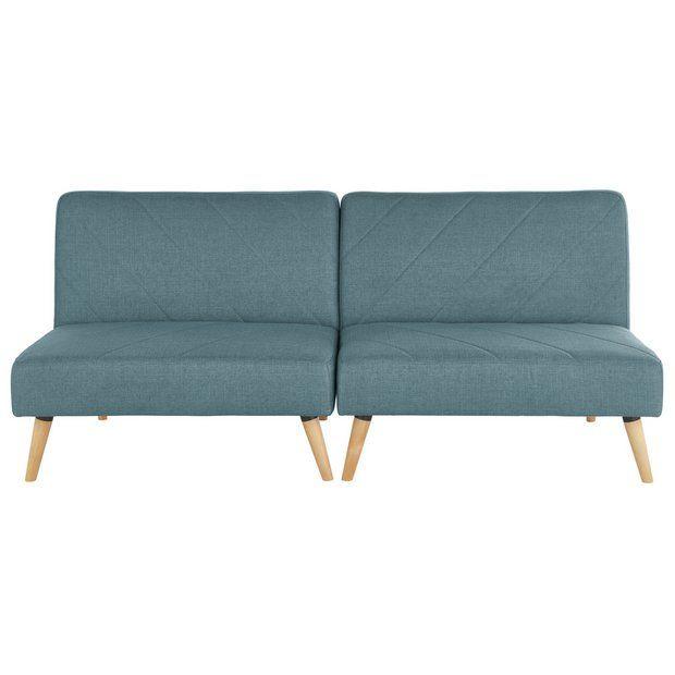 Buy Argos Home Luna 2 Seater Fabric Sofa Bed Blue Sofa Beds Argos In 2020 Sofa Bed Blue Fabric Sofa Bed Fabric Sofa
