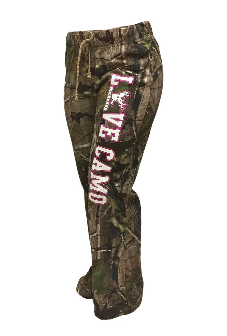 "BuckedUp Raw Edge CAMO lounge pants. Another item from our ""LOVE CAMO"" collection. APG Realtree Camo with LOVE CAMO down the left leg. Drawstring waist with no pockets."