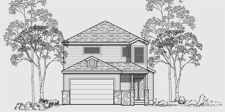 House front color elevation view for 9995 Narrow lot house plans, 3 bedroom house plans, two story house plans, 9995