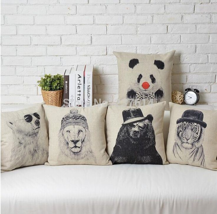 Wholesale 5pcs Creative Animals Pillow Cotton Linen Cushion Cover 45*45CM Pillows Decorate Cushion Cover For Sofa Free Shipping-in Cushion from Home & Garden on Aliexpress.com | Alibaba Group
