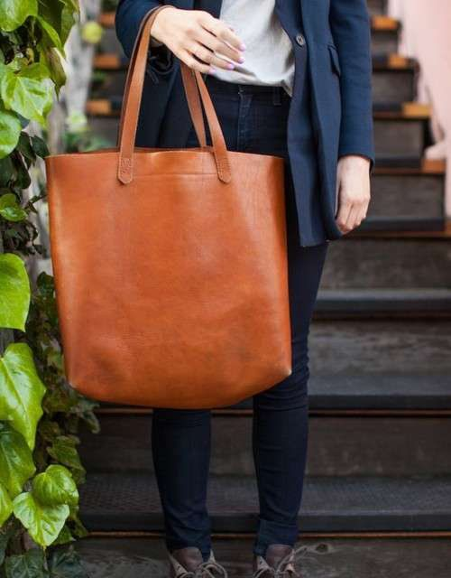 f1fccf6a291d Leather Tote Bag: Madewell Zip Transport Tote As Diaper Bag