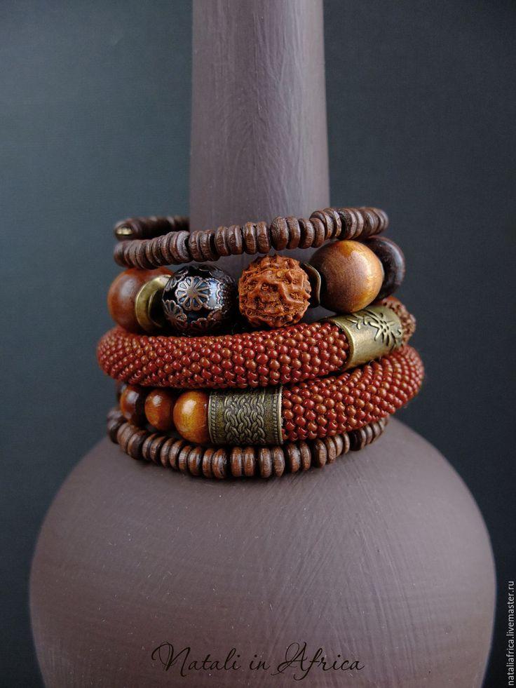 """Купить Браслет """"Ореховый"""" многорядный - дерево, рудракша, чешский бисер - коричневый браслет, деревянный браслет"""