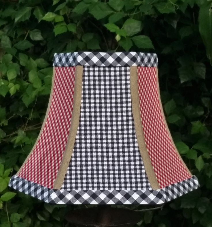 Red Gingham Lamp Shade: Lampshade Navy Blue Red Gingham Brown Linen Custom Navy Grosgrain Ribbon  Cotton Fabric Trim Hex Bell,Lighting