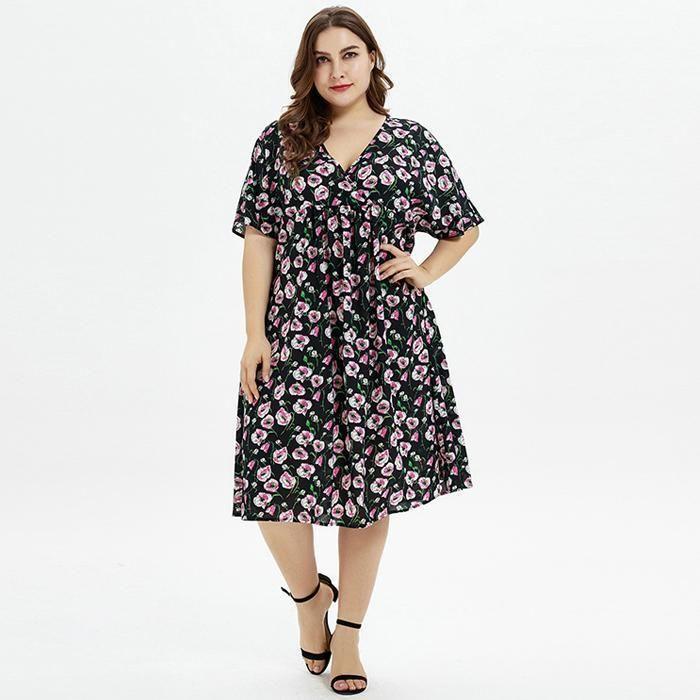 Plus Size V Neck Floral Print Short Sleeve Loose Midi Dress