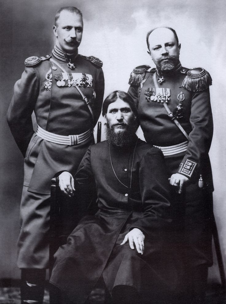 Grigory Rasputin, Major General Putyatin, and Colonel Lotman photographed in 1904.