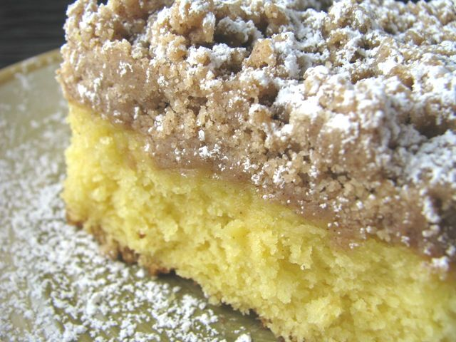 Beth's Starbuck's Coffee Cake, with crunchy, buttery, cinnamon topping. It starts with a yellow cake mix from a box.