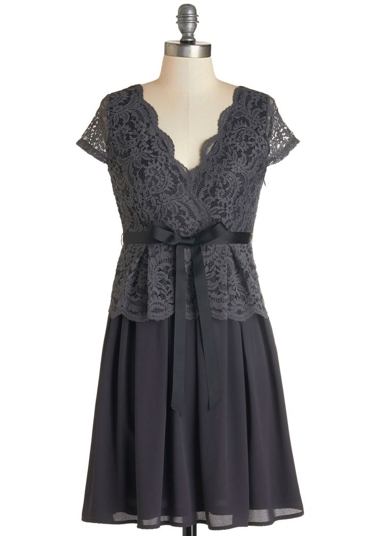 Mingle My Way Dress. All the other guests at the soire have a hankering to interact with the gal in this slate-grey dress! #grey #modcloth