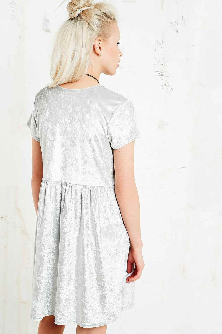 Vintage O&O Babydoll Velvet Dress in Silver - Urban Outfitters