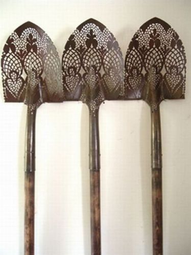 DIY...spray paint lace template! ( maybe for a sentimental shovel/decorate your potting shed/antique tool décor )