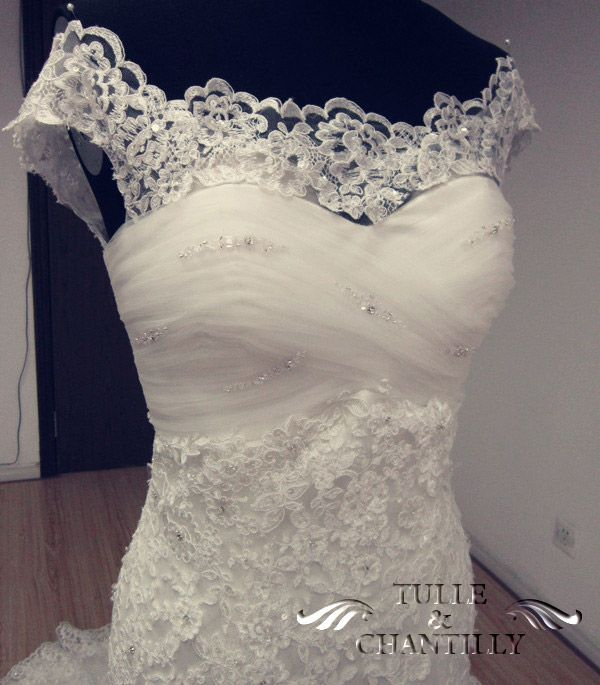 Modest Beaded Tulle Lace Overlay Custom Bridal Wedding Dress