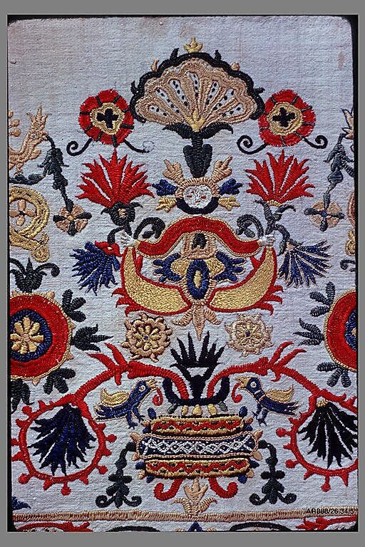 Part of a dress border 18th century Greek Islands, Crete Silk on linen