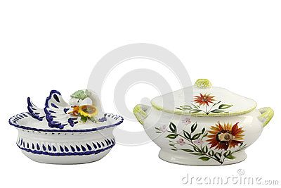 Soup bowls swan shape and one with flowers on white background
