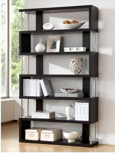 Javier Zig Zag Espresso Stainless Finish 6 Shelves Display Bookcase Hallway Den  #Modern