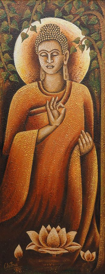 Lord Buddha Painting by Chitra Singh