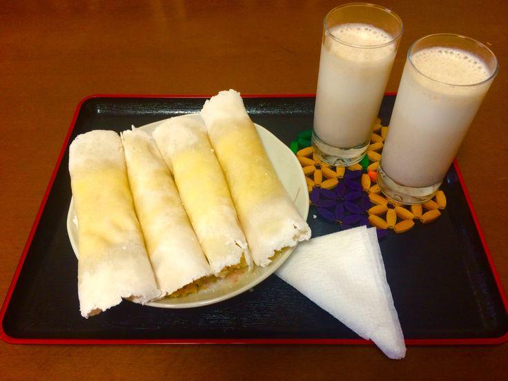 Tapioca mega recheada Baicon, ovos, queijo prata e mussarela, presunto, azeitona preta