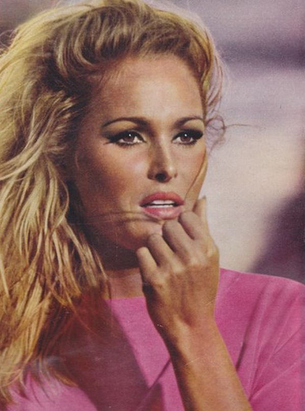 Ursula Andress - smoldering.  Love her bronzed look with pink and blond/brown combination.  She's just as beautiful without any makeup.