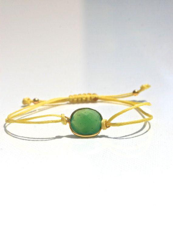 Friendship bracelet green chalcedony gemstone by marysartjewelry, $20.00