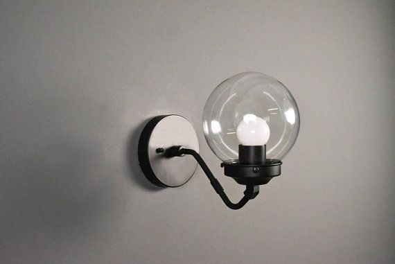 Matte Black Wall Sconce Single Light 6 Inch Globe Vanity Mid Sconces Industrial Wall Lights Wall Sconces