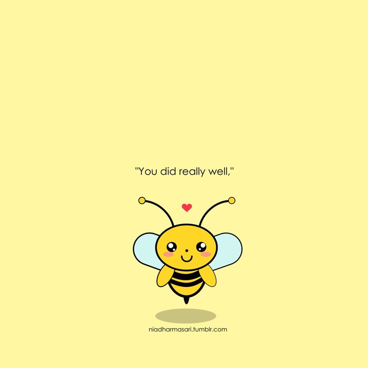 "Cute Doodles Illustration — The little bee want to say, ""You did really well."""