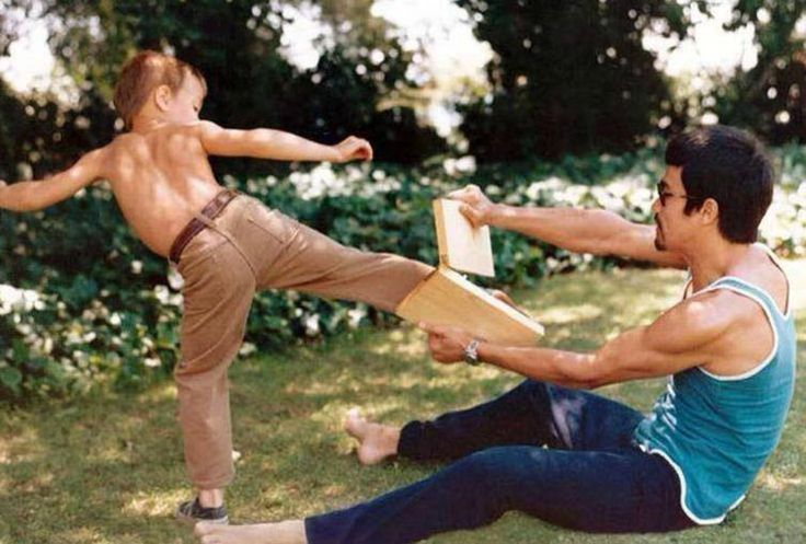 Bruce Lee Teaching His Son Brandon How To Kick, 1971