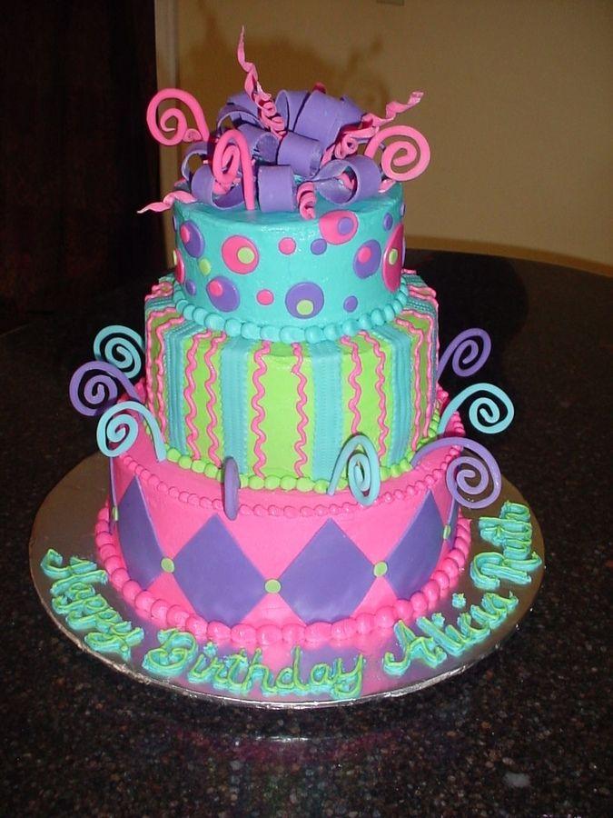 Neon Fondant Cakes