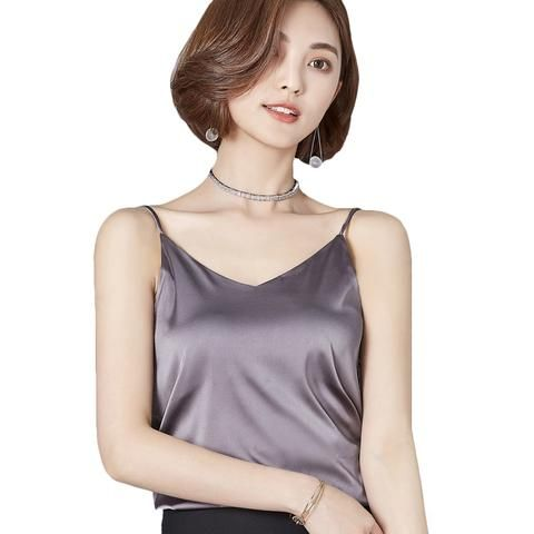 627acdaaace451 New 2018 Sexy Tank Top Women Silk Camis Fashion V-Neck Sleeveless Shirt  Solid Color Women Camisole Backless Summer Female Tops