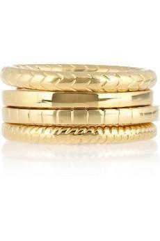 - Gold-vermeil- Ring1: squared-edge design- Ring2: curved snake-link design- Ring3: chevron-link design- Ring4: square-link design- Designer stamp} More Details