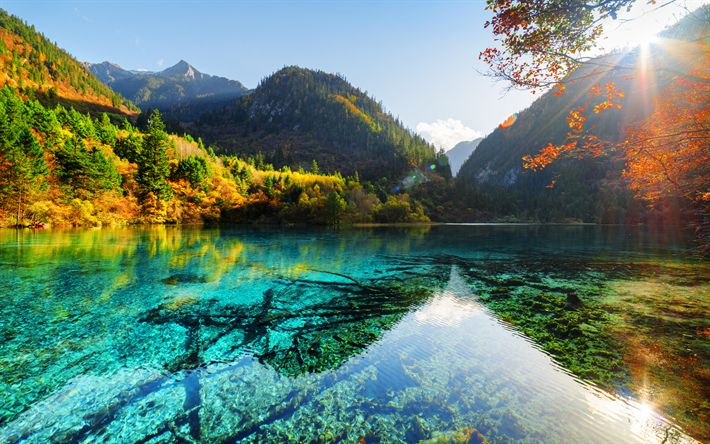 Lataa kuva Kiteinen Turkoosi Järvi, syksy, blue lake, Aasiassa, Jiuzhaigou National Park, Kiina