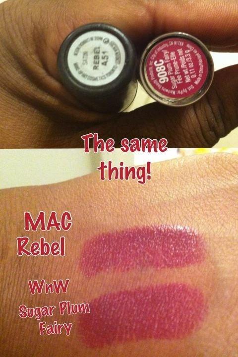 dupe mac rebel vs wet n wild sugar plum fairy beautify