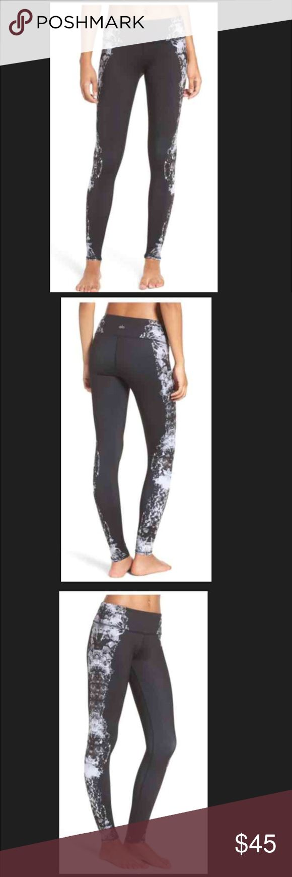 """NWT Alo Airbrush Leggings. NWT Alo Airbrush Leggings. An extra-wide waistband tops the style, providing additional support for your core.  29"""" inseam; 8"""" leg opening; 8"""" front rise; 11 1/2"""" back rise (size Medium). Smooth flatlock seaming won't rub or irritate. Moisture-wicking fabric dries quickly to keep you cool and comfortable. Gusset inset enhances comfort and breathability. Antimicrobial fabric inhibits the growth of odor-causing germs. Polyester/spandex or nylon/spandex. Hand wash…"""