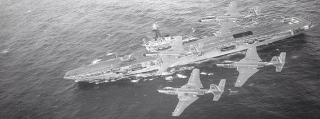 HMCS Bonaventure, with a pair of Voodoos