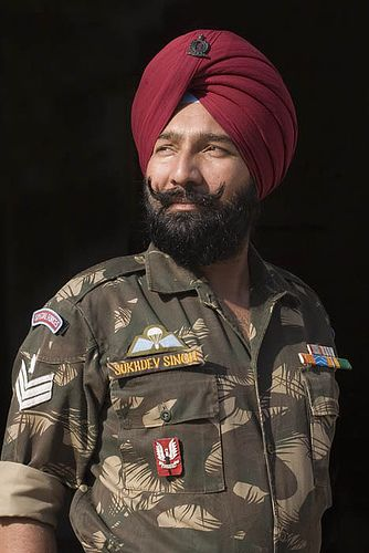 Present day Sikh Soldier - Think Special Ops Soldier but with a Turban instead of a beret.