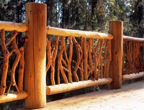 8 best best log home deck railing images on pinterest for Log cabin porches and decks