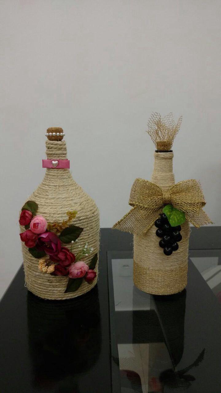 25 ideas destacadas sobre botellas de vino de cuerda en - Decoracion de botellas ...