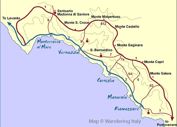 cinque terre hiking trails map  From Corniglia, take 7a to 6d to 6 and back into Manarola