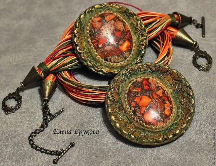 """Купить Комплект """"Жаркая осень"""" - рыжий, оранжевый, теплые цвета, осень, жара, крапива, бронза"""
